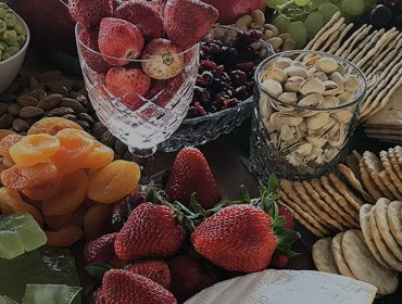 grazing table display with strawberries